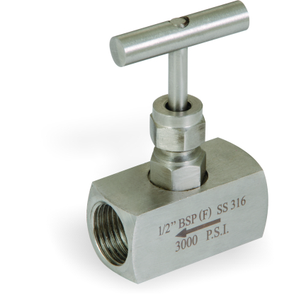 S.S 304/316 NEEDLE VALVE 3000/6000/10,000 PSI (HIGH PRESSURE) SCREWED ENDS