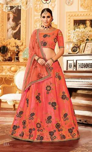 padmavati peach lehenga choli by aashirwad creation 7 pieces catalog wholesaler