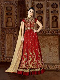 Red Stylish Raw silk Wedding Wear Anarkali suit
