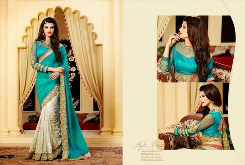 Amazing Fancy Stone Work Saree 2015