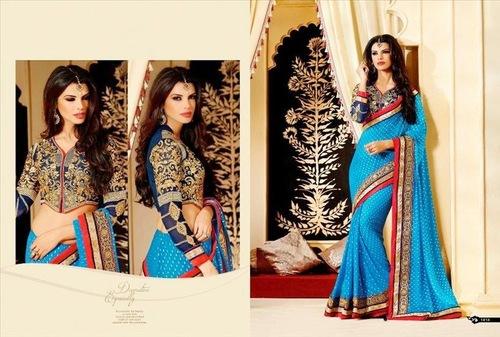 Double Color Designer Saree