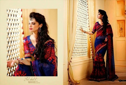 New Pattern Net Saree With Hand Made Border