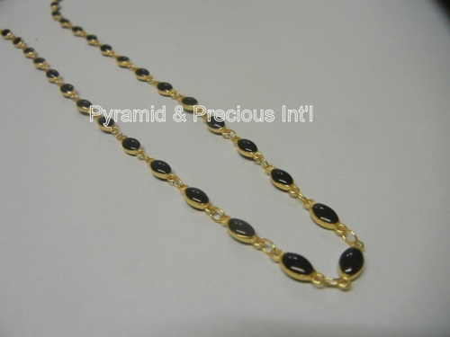 Gold Plated Bezel Set Black Onyx Necklace Selling Per Piece