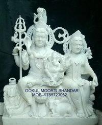 White Marble Shiv Privar Statue