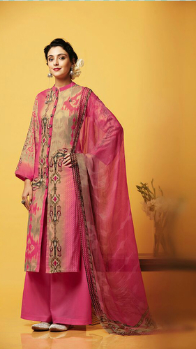 Pink Cotton Stylish Plazzo Suit