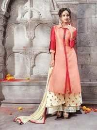 Red Stylish Georgette Plazzo Style Suit