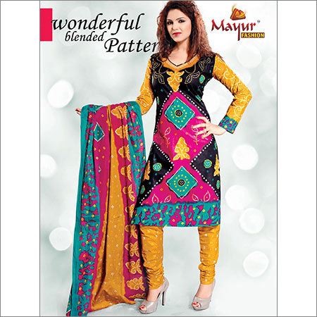 Multi Colored Cotton Dress Material