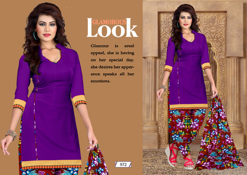 Printed Patiala Cotton Dress Materials Catalog
