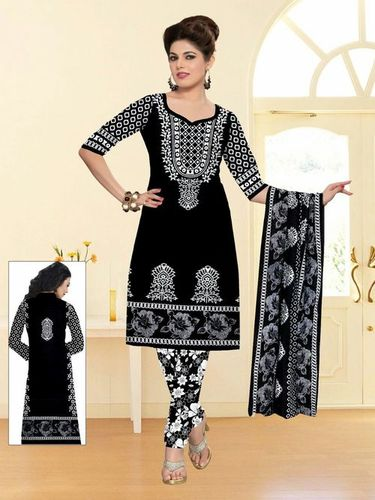 Unstitched Black And White Dress Materials