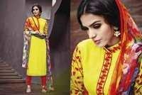 Cotton Jacquard Resham Work Unstitch  Yellow Salwar Kameez