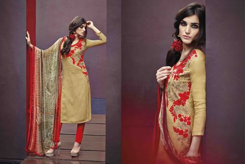 Cotton Jacquard Resham Work Unstitch  Salwar Kameez
