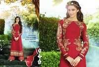 Georgette Embroidered Red Long Suit