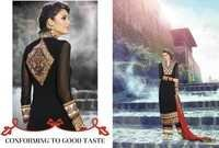 Black Embroidered Georgette Suit
