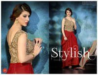 Red Boutique Style Embroidered Anarkali Suit