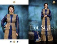 Navy Boutique Style Embroidered Straight Suit