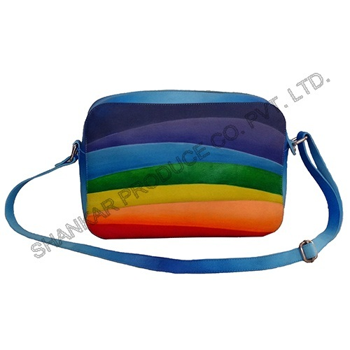 Hand Painted Leather Sling Shoulder Bag