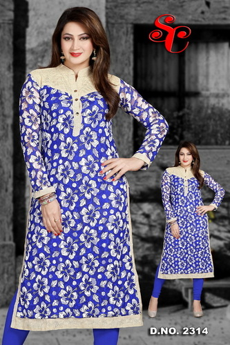 Silk Designer Kurtis with power net material