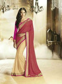Statuesque Designer Saree With Lace Border Work