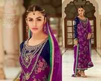 Shining Georgette Embroidered Magenta Suit