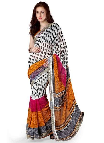 Kashmiri Print Yellow Georgette Saree