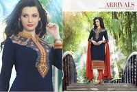 Navy Embroidered Ethnicc Cotton Suit