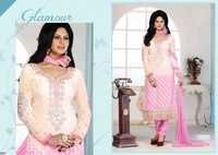 Fancy Embroidered Glossy Pink Brasso Straight Suit