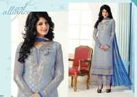 Fancy Embroidered Grey Brasso Straight Suit