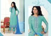 Fancy Embroidered Sky Blue Brasso Straight Suit