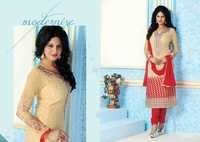 Fancy Embroidered Beige Red Brasso Straight Suit