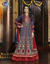 Heavy Blue & Red Fully Embroidered Anarkali Suit