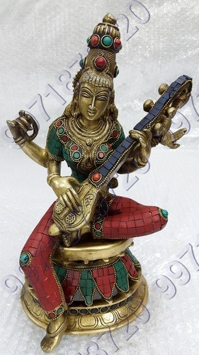 JALI WORK LOTUS SEATED SARASWATI