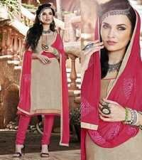 Beige Pink Traditional Style Cotton Dress