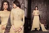 Latest Beige Embroiderd Straight Plazzo Suit