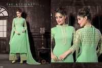 Latest Sea Green Embroiderd Straight Plazzo Suit