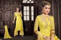 Latest Yellow Embroiderd Straight Plazzo Suit