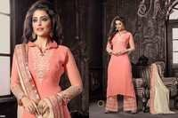 Latest Peachy Embroiderd Straight Plazzo Suit