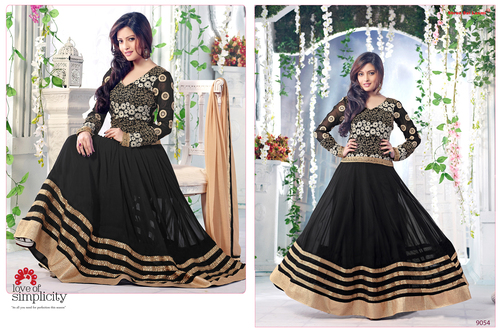Latest Heavy Designer Black Anarkali Suits
