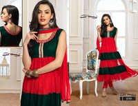Latest Designer Green & Red Anarkali Suits