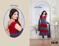 Latest Designer Grey & Red Anarkali Suits