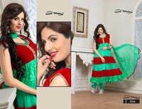 Latest Designer Parrot & Red Anarkali Suits
