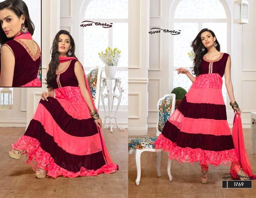 Latest Designer Peach & Maroon Anarkali Suits