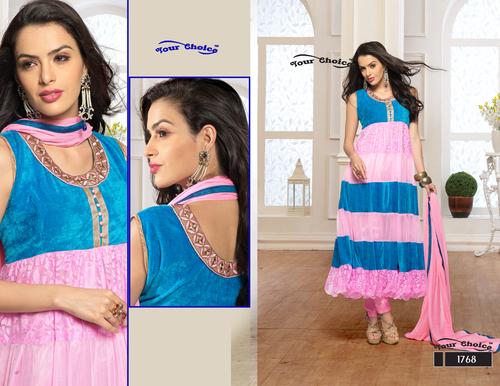 Latest Designer Pink & Blue Anarkali Suits