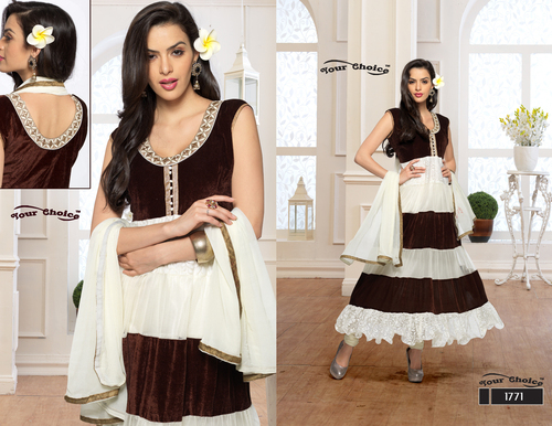 Latest Designer White & Brown Anarkali Suits
