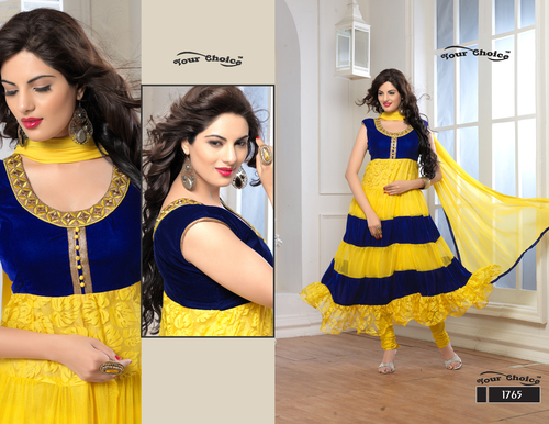 Latest Designer Yellow & Navy Blue Anarkali Suits