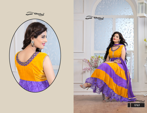 Latest Designer Yellow & Purple Anarkali Suits