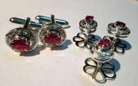 Natural Ruby Gemstone Mens Cufflinks