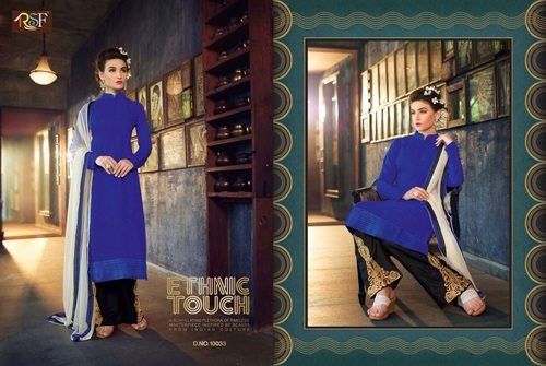 Latest Designer and Havy Black and Blue Long Sleeve Straight Suit