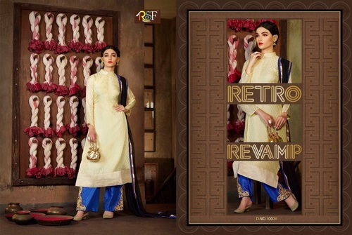 Latest Designer and Havy Off White & Blue Long Sleeve Straight Suit