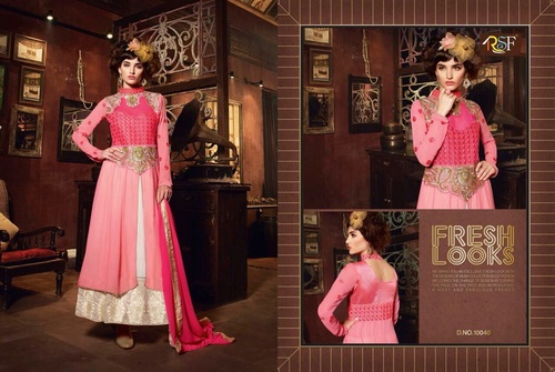Designer and Havy Pink and Cream Long Sleeve Straight Suit