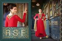 Designer and Havy Red and Cream Long Sleeve Straight Suit